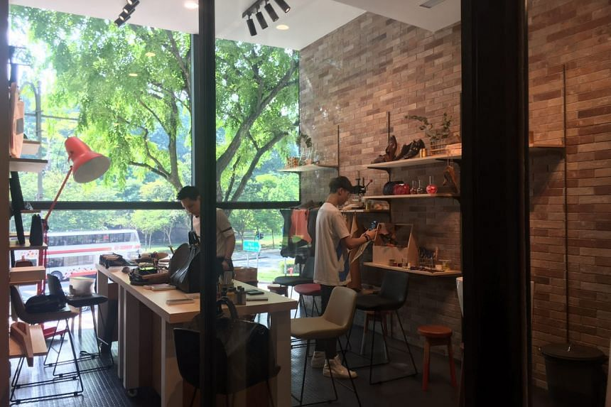 Workshop spaces by local creatives at the Funan show suite, where members of the public can attend programmes ahead of the mall's 2019 launch.