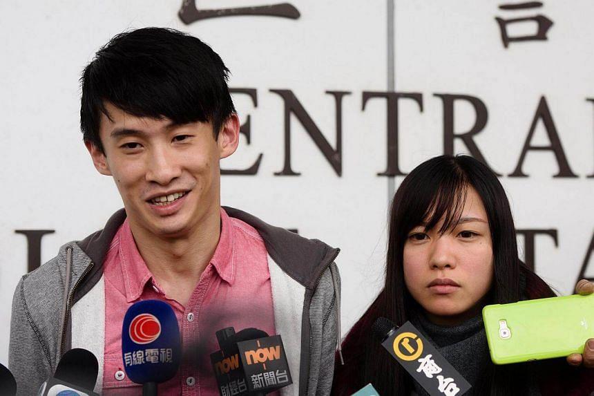 Hong Kong independence activists Baggio Leung (left) and Yau Wai-ching.