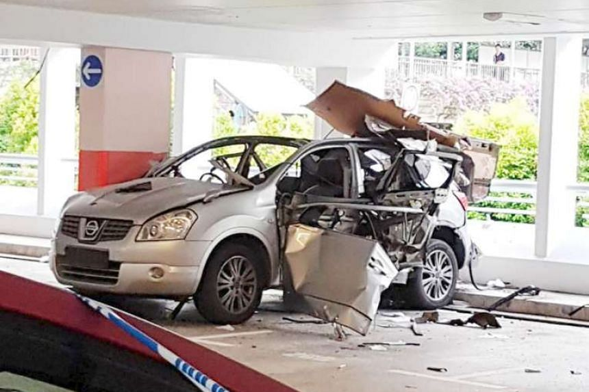A man in his 40s suffered burns on his chest and limbs after a car exploded in a multi-storey carpark in Bukit Batok East Avenue 3 yesterday. He was later taken to Singapore General Hospital. A video put up on Facebook showed the man crying in pain, with