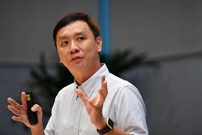 NTUC's e2i CEO Gilbert Tan talking about NTUC's new U Career Network.