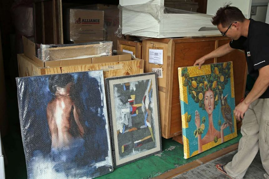 Artworks from Mandala Fine Art in the warehouse of storage company Alliance Logistics on Feb 11, 2017.