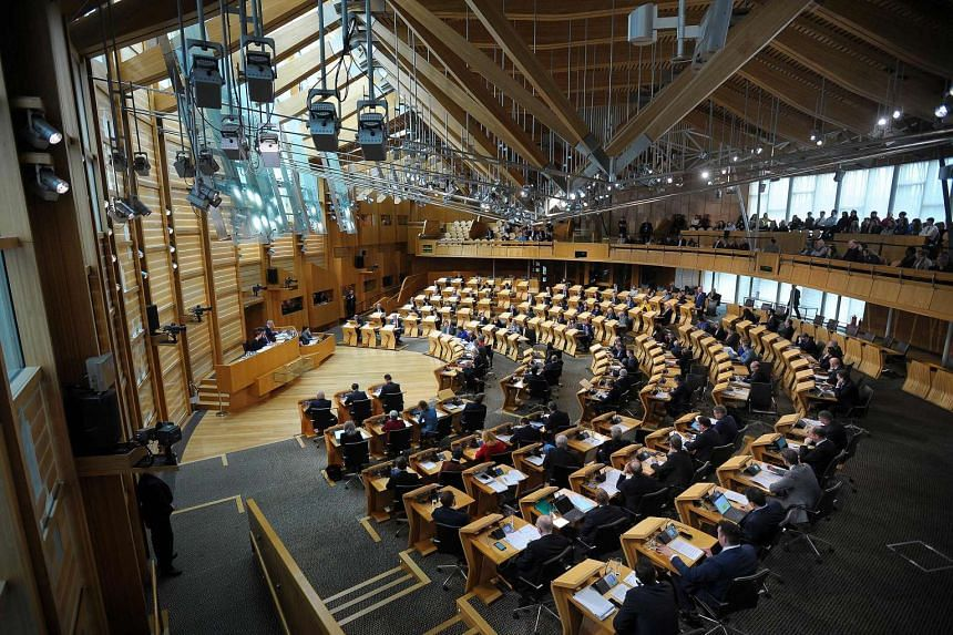 An independence debate taking place at the Scottish Parliament chamber in Edinburgh on March 21, 2017.