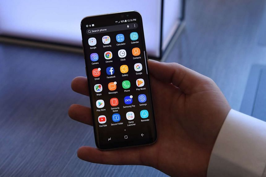 The new Samsung Galaxy S8 at a media preview.