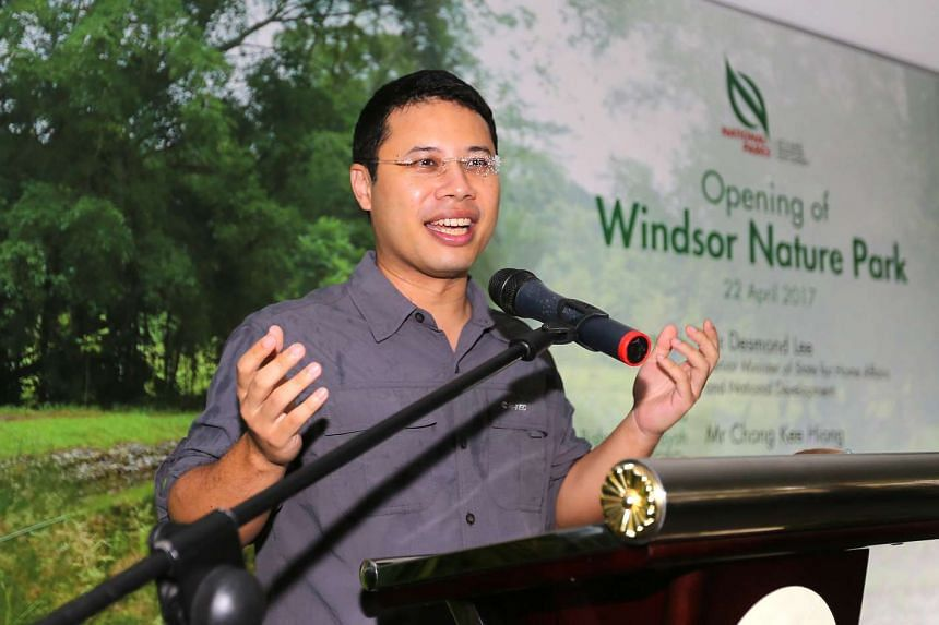 Mr Desmond Lee, Senior Minister for Home Affairs and National Development, at the opening of Windsor Park on April 22, 2017.