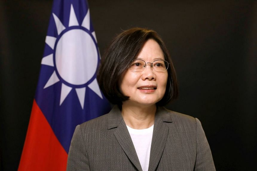 Taiwan President Tsai Ing-wen poses for photographs during an interview at the Presidential Office in Taipei on April 27, 2017.
