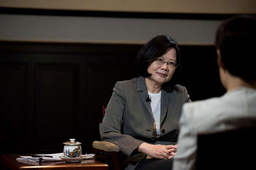 President Tsai Ing-wen (left) being interviewed by Jean Yoon from Reuters news agency in Taipei, Taiwan, on April 27, 2017.