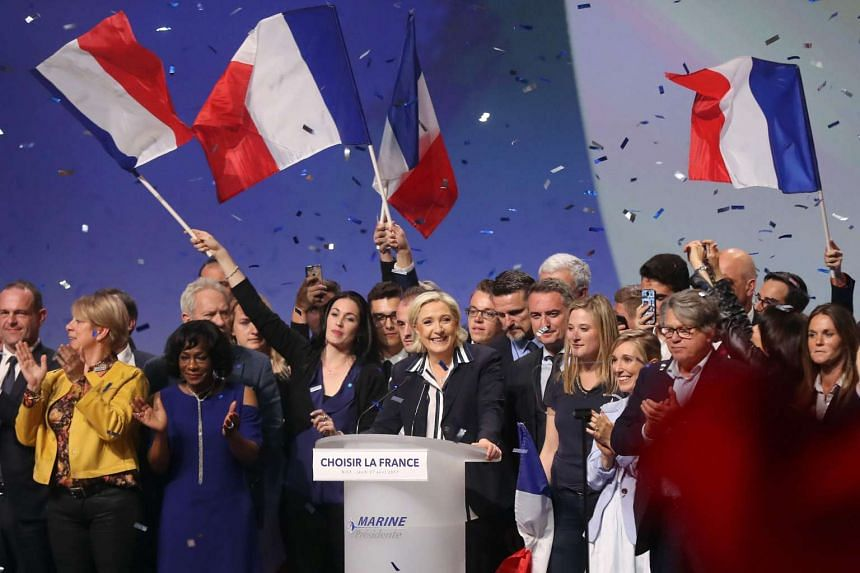 French presidential election candidate Marine Le Pen delivering a speech during a campaign meeting.