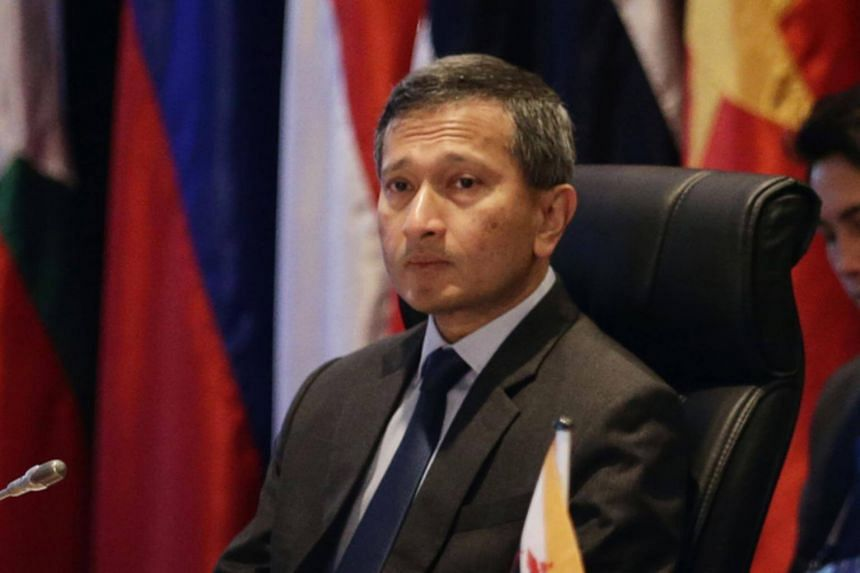 """Speaking to reporters after the Asean Ministers' Meeting, Foreign Minister Vivian Balakrishnan said he was """"reasonably confident"""" that a framework on the code of conduct will be completed by the middle of the year."""