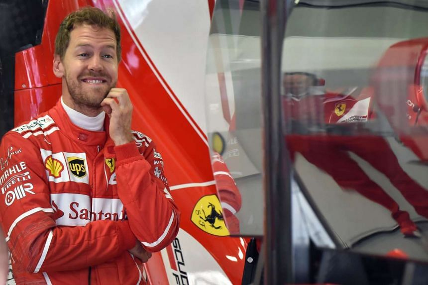 Vettel in the garage during the first practice session, April 28, 2017.