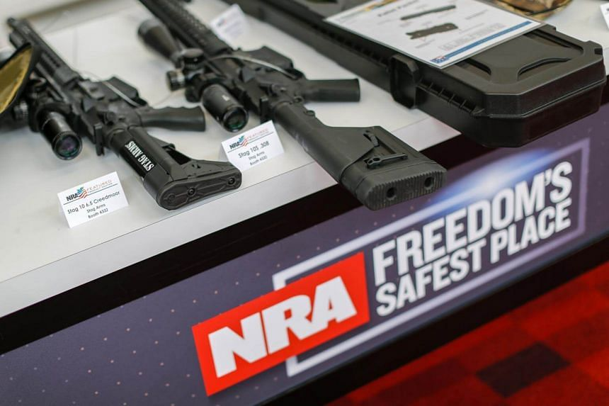 Firearms on display at the National Rifle Association's Annual Meetings at the Georgia World Congress Center in Atlanta, USA, on April 27, 2017. US President Donald Trump will speak at the NRA Leadership Forum on April 28, 2017.