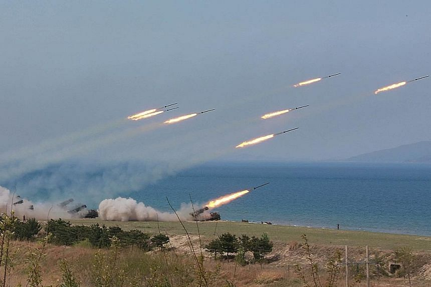 A military drill marking the 85th anniversary of the Korean People's Army on Tuesday.