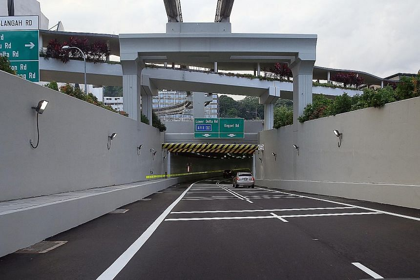 A 1.4km undersea road tunnel connecting Sentosa to the mainland opened yesterday morning. The one-way Sentosa Gateway Tunnel will allow motorists leaving the resort island to connect directly to Lower Delta Road and Keppel Road. It is expected to eas