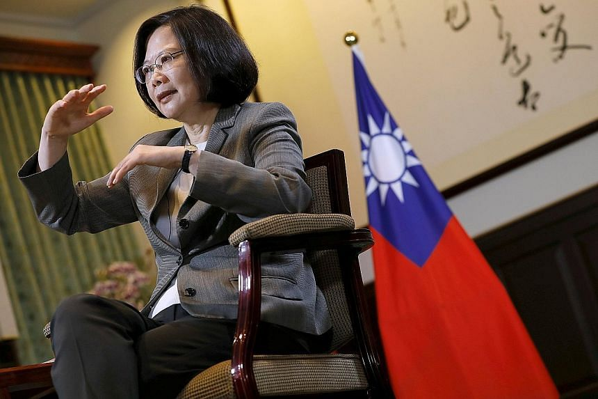 """Speaking from her presidential office after nearly a year as Taiwan's President, Ms Tsai Ing-wen urged Chinese President Xi Jinping to act like a leader and """"show a pattern and flexibility, use a different angle to look at cross-strait relations""""."""