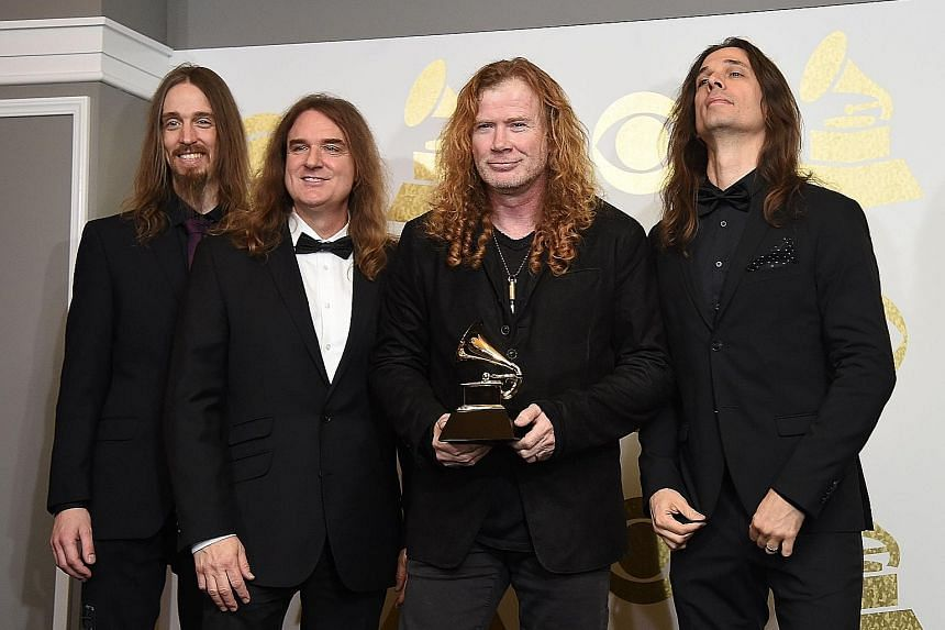Metal band Megadeth's (from left) Dirk Verbeuren, David Ellefson, Dave Mustaine and Kiko Loureiro have sold 50 million records worldwide.