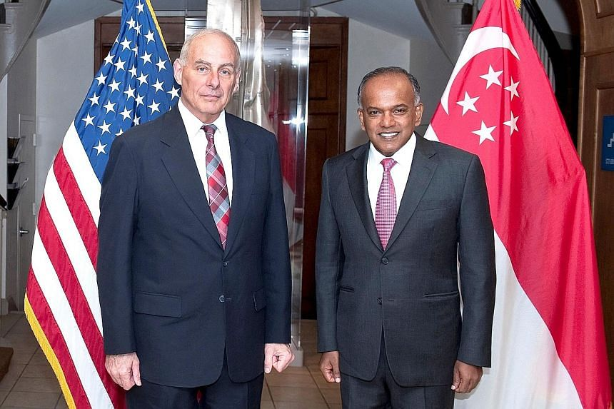 Home Affairs Minister K. Shanmugam meeting US Secretary of Homeland Security John F. Kelly on his visit to Washington, where he spoke at a seminar on the Syrian conflict and radicalisation in South-east Asia.