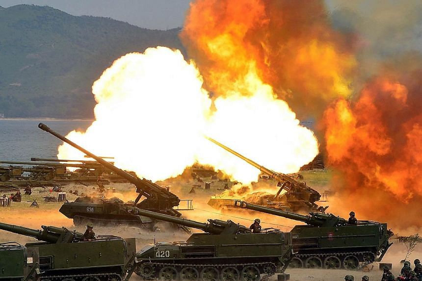 A demonstration by North Korea's army during the celebration of the country's 85th anniversary. The US hopes to muster UN support to stop Pyongyang's nuclear missile programme.