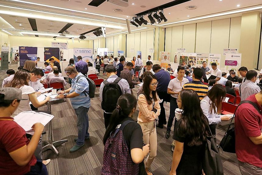 About 900 job seekers visited the one-day career fair for the manufacturing sector yesterday at the Devan Nair Institute for Employment and Employability, where 31 firms were offering more than 900 jobs.