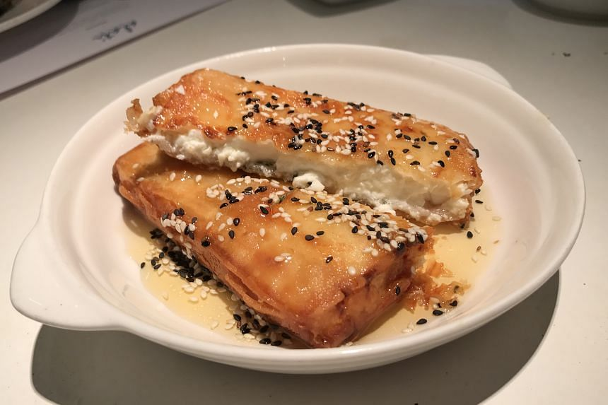 The Fyllo-wrapped Feta is a slab of feta wrapped in crisp pastry and flash-fried.
