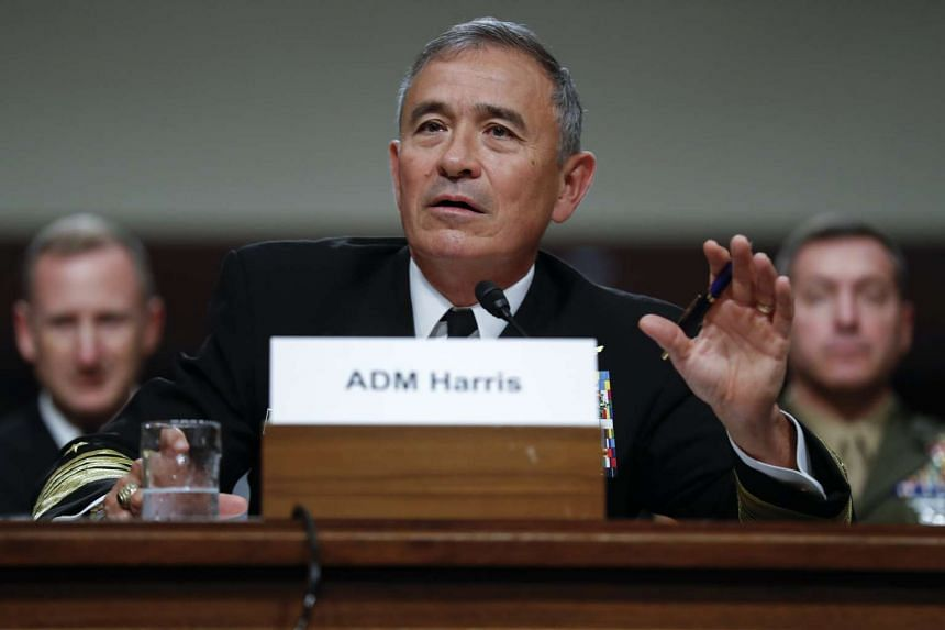 Commander, United States Pacific Command and United States Forces in Korea Admiral Harry Harris testifies before the Senate Armed Forces Committee on Capitol Hill in Washington, DC, US, on 27 April 2017.