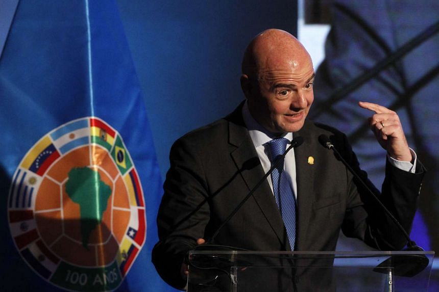 Fifa president Gianni Infantino at a congress of the South American Football Confederation in Santiago, Chile.