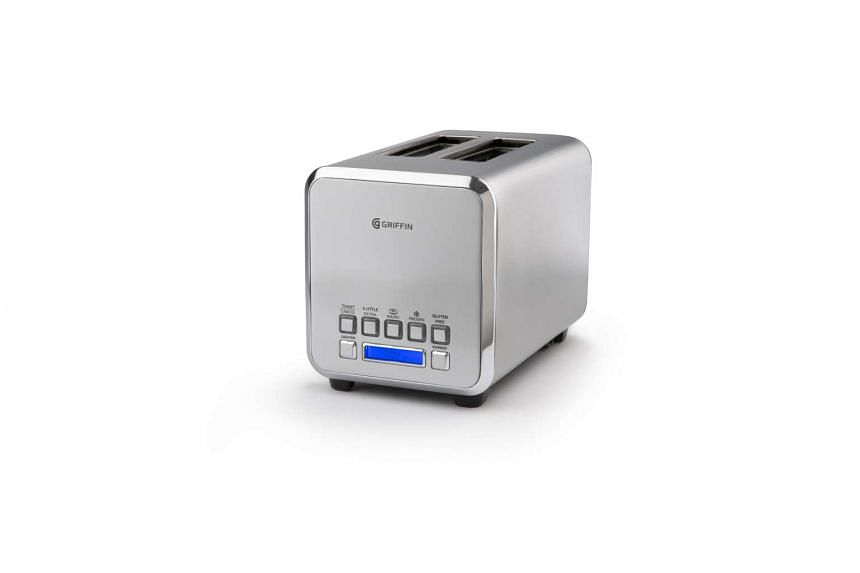 This smart toaster from Griffin allows you to precisely control how you would like your toast from a smartphone, with presets for different types of bread and pastries. (PHOTO: GRIFFIN TECHNOLOGY)