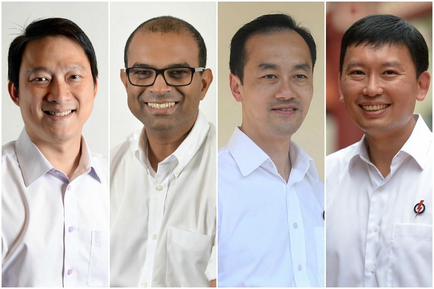 (From left) Dr Lam Pin Min, Dr Janil Puthucheary, Dr Koh Poh Koon and Mr Chee Hong Tat have been promoted to senior ministers of state from May 1.