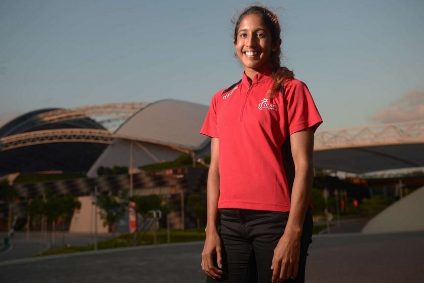 Sprinter Shanti Pereira posing infront of the Singapore Sports Hub, on March 11, 2016.