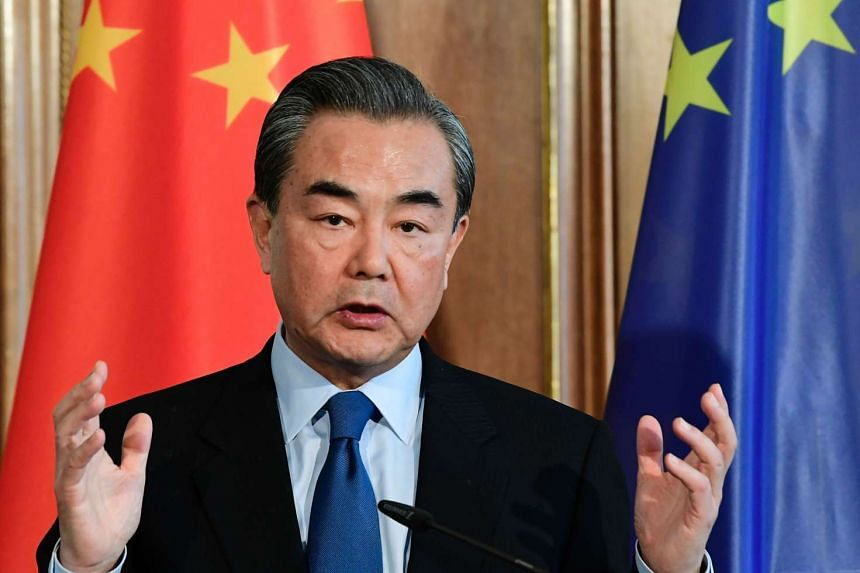 Chinese Minister of Foreign Affairs Wang Yi speaking during a press conference after talks with German Foreign Minister at the Borsig villa in Berlin, on April 26, 2017.