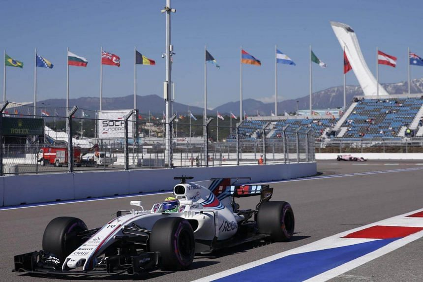 Williams Formula One driver Felipe Massa of Brazil drives during the second practice session at Russian Grand Prix in Sochi, Russia on April 28, 2017.