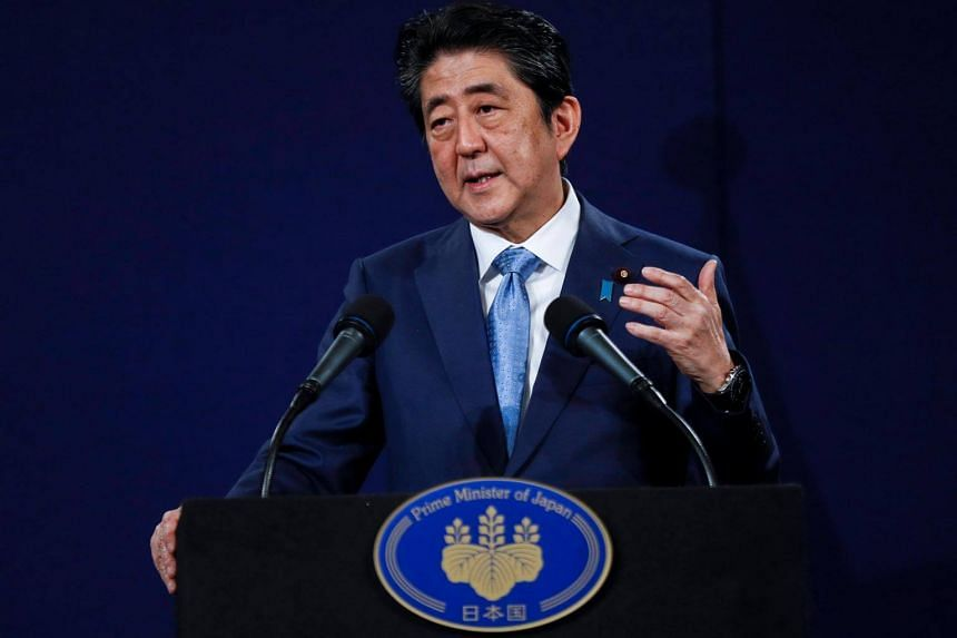 Japan's Prime Minister Shinzo Abe speaks during a news conference at a hotel in London, Britain, on April 29, 2017.