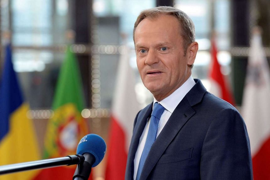 President of the European Council Donald Tusk speaks to the press upon his arrival to attend the EU leaders summit at the Europa building, the main headquarters of European Council and the Council of the EU, in Brussels, on April 29, 2017.