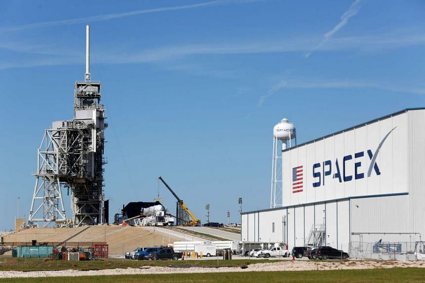 A SpaceX Falcon 9 rocket is readied for launch, Feb 17, 2017.