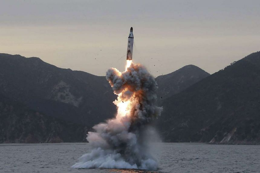 North Korea  tests a ballistic missile earlier in April 2017.