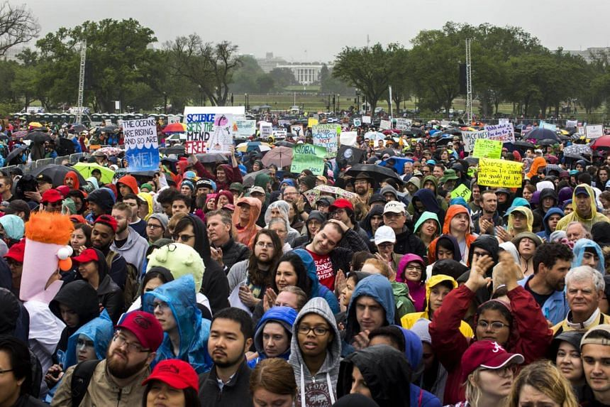 Tens of thousands of protestors gather on the National Mall for the March for Science protest in Washington, DC, US, on April 22, 2017.