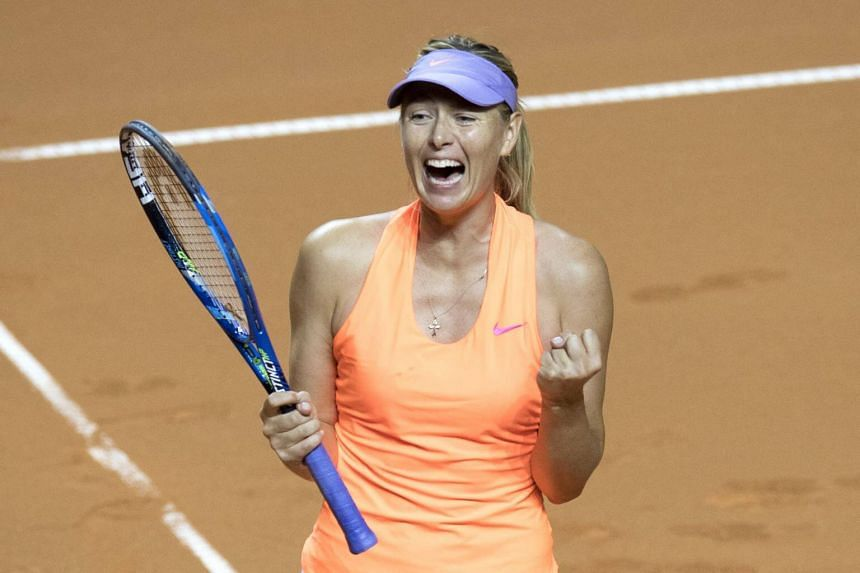 Russia's Maria Sharapova celebrates after defeating Estonia's Anett Kontaveit in the quarterfinal match at the WTA Tennis Grand Prix in Stuttgart, southwestern Germany, on April 28, 2017.