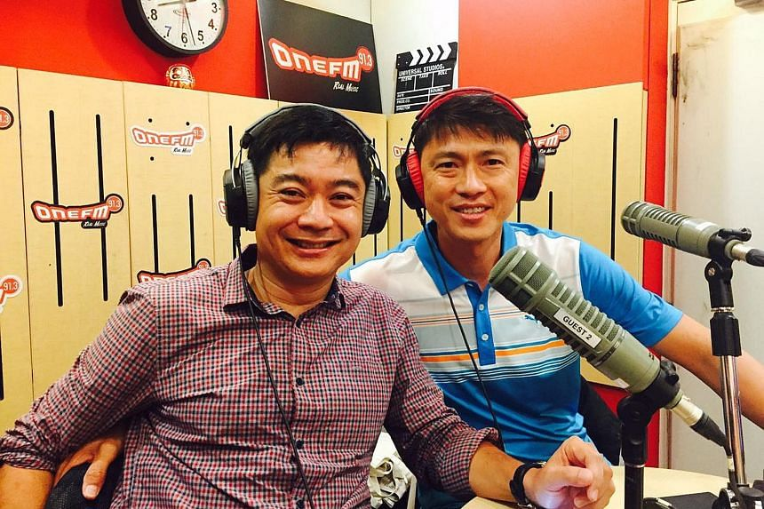 Team LKT'S Bernard Tan and former national captain Lim Tong Hai in the studios of radio station One FM yesterday. The Game Changers' Dr Teoh Chin Sim (back to camera) addressing affiliates at Padi@Bussorah on Thursday evening.