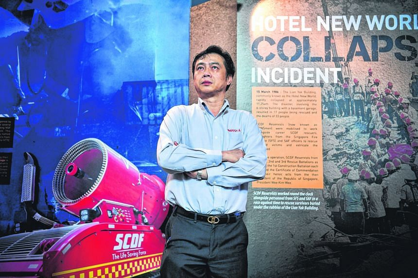 Mr Tan Kim Teck, who was involved in rescue operations during the Hotel New World collapse in 1986, recalling his experience at the SCDF NS Gallery yesterday.