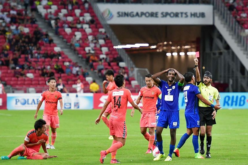Tampines Rovers' captain Madhu Mohana being sent off by Refree Sukhbir Singh, on Feb 26, 2017.