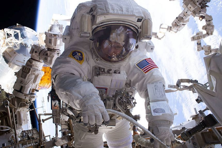 Nasa astronaut Peggy Whitson on a spacewalk at the International Space Station.