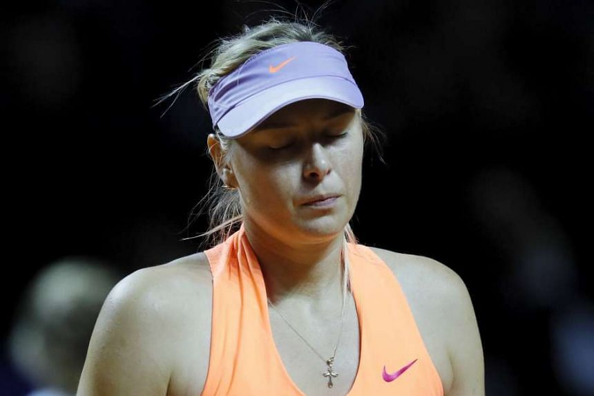 Sharapova in action against Kristina Mladenovic of France in their semi final.