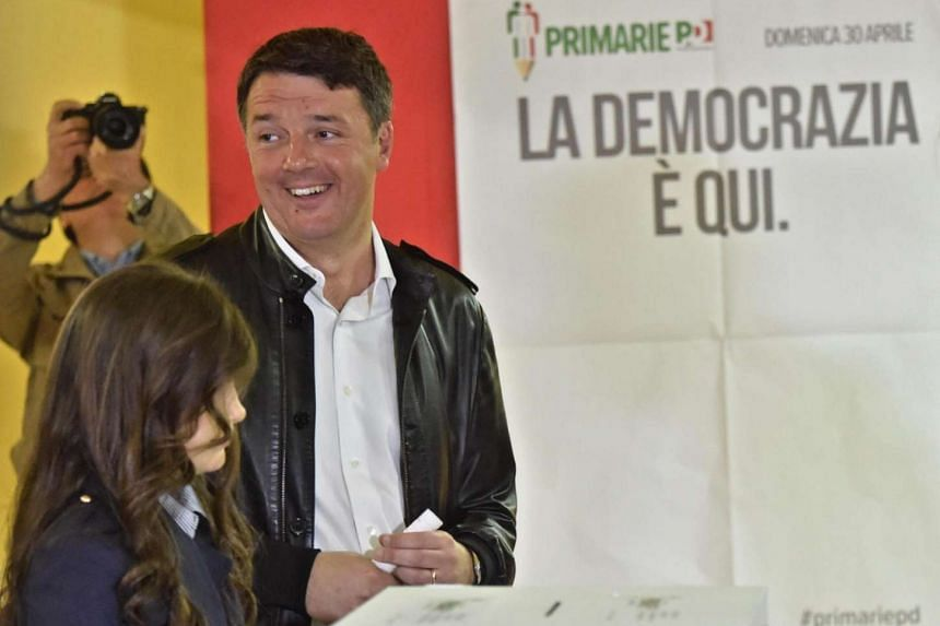 Former Italian premier Matteo Renzi votes in the PD (Democratic Party) leadership primaries in Pontassieve, near Florence, on April 30, 2017.