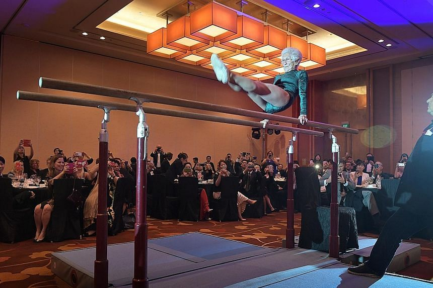 Ms Johanna Quaas wowing the audience at Marina Bay Sands with her agile and graceful performance on the parallel bars last week.