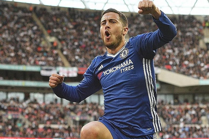 Eden Hazard celebrating after scoring in Chelsea's 4-2 victory against Tottenham Hotspur in the FA Cup semi-final last weekend. He will be looking to dictate terms in today's game against Everton.