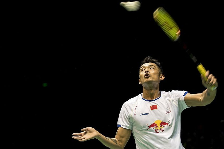 Lin Dan hitting a return against rival Lee Chong Wei during his win in yesterday's semi-final at the Badminton Asia Championships in Wuhan. In a rematch of the Malaysian Open final 20 days earlier, Lee once more surrendered meekly, this time losing 1