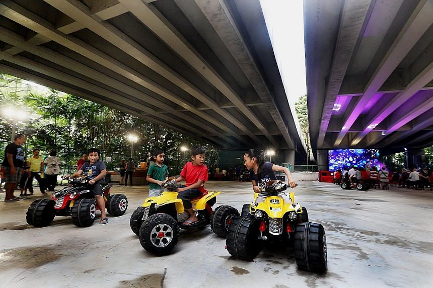 This new space under the Bukit Merah Flyover was launched yesterday with a carnival and getai show for 300 Tiong Bahru residents. The space is now a hard court, with water, electricity and lighting, which residents can book for events.