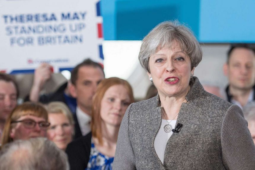 British PM Theresa May speaking to supporters in Banchory, Aberdeenshire, on April 29, 2017.