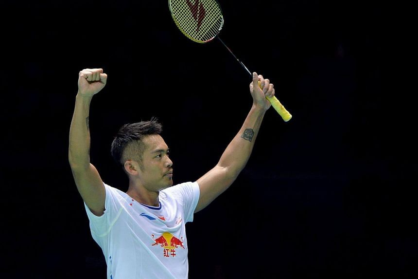 Lin Dan of China celebrates winning the men's singles semi-final match against Lee Chong Wei of Malaysia at the 2017 Badminton Asia Championships in Wuhan, central China's Hubei province on April 29, 2017.
