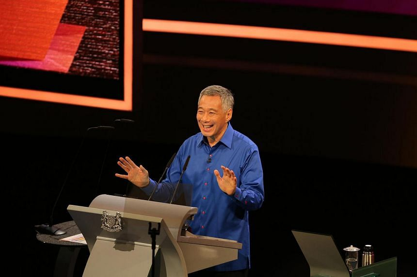 Prime Minister Lee Hsien Loong delivering his speech at the National Day Rally 2016 held at the Institute of Technical Education College Central campus in Ang Mo Kio on Aug 21, 2016.