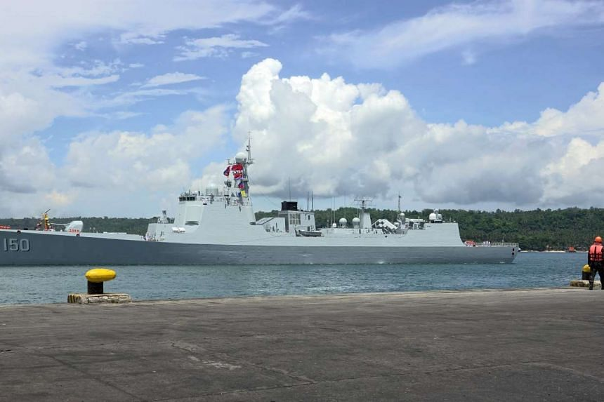 Chinese Navy warship Chang Chun entering the seaport in Davao city.