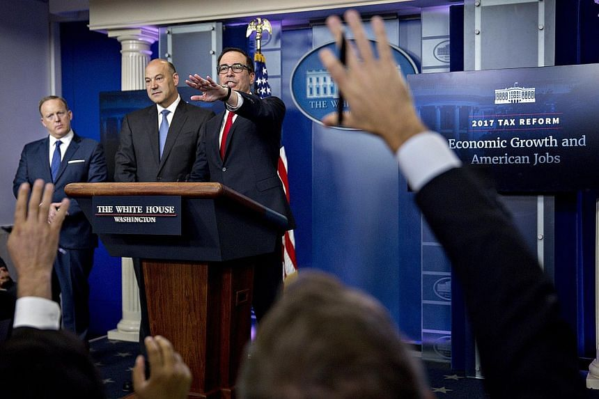 US Treasury Secretary Steven Mnuchin taking a question during last week's White House press briefing on President Donald Trump's tax-cut plan. The lack of details in the plan has added some uncertainties to the market.